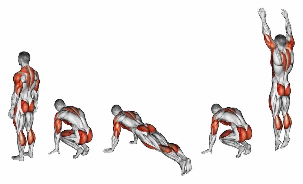 Burpee. Exercising for fitnes