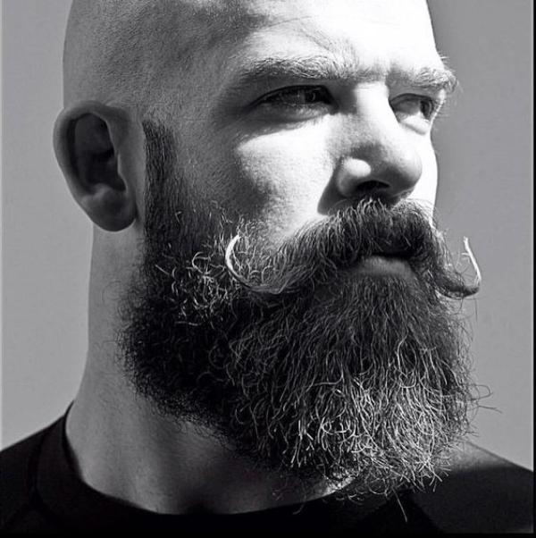 Handlebar moustache with beard for bald men
