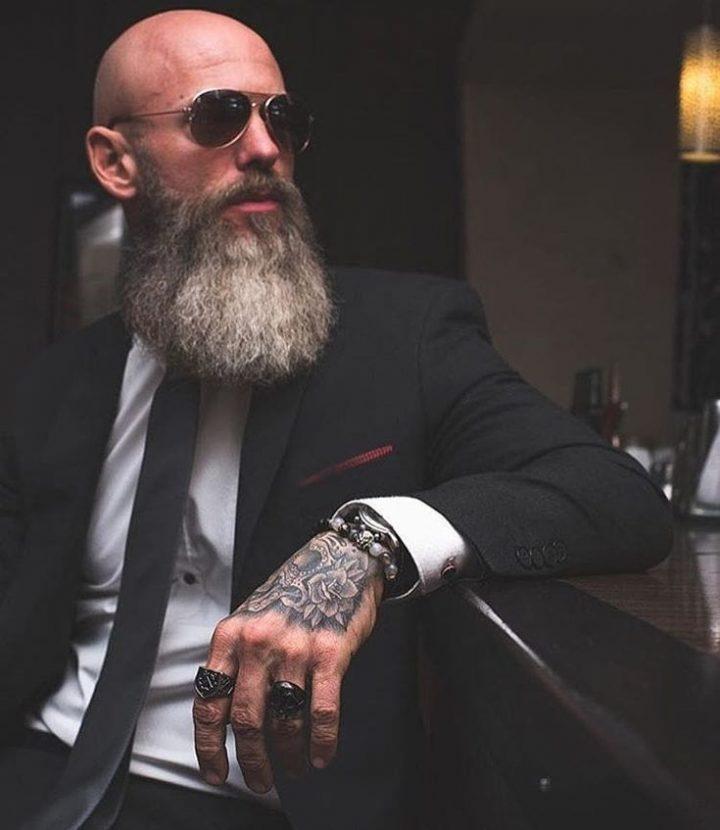Long beard for bald guys