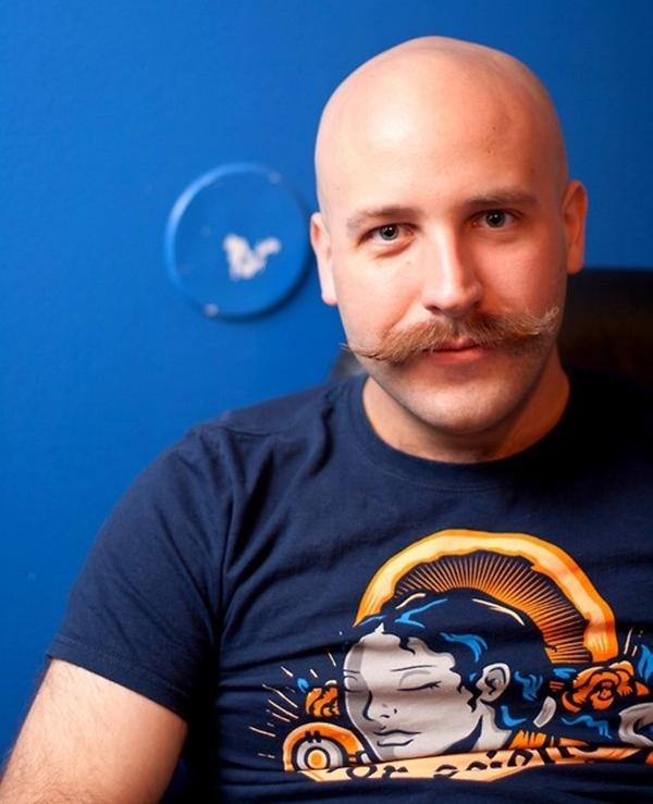Moustache bald man