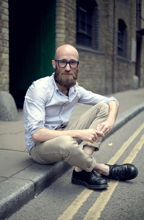 Normal beard style for bald men
